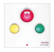 Unité d'appel ASCOM radio blanche équipée 3 boutons et 3 voyants et prise pour appel malade ou infirmière.