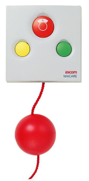 Unité tirette d'appel ASCOM radio blanche et 3 voyants et 3 boutons pour appel malade ou infirmière.